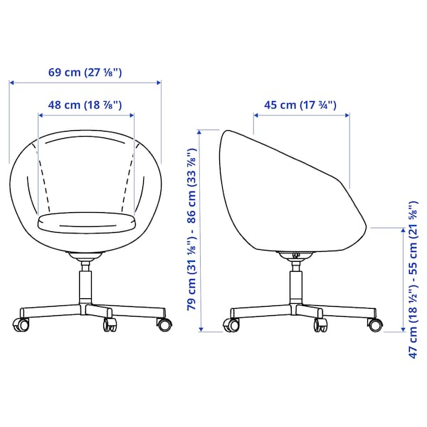 SKRUVSTA Swivel chair, Vissle grey