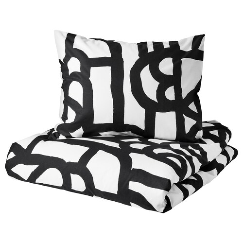 SKUGGBRÄCKA quilt cover and 2 pillowcases white/black 152 /inch² 2 pieces 220 cm 240 cm 50 cm 60 cm