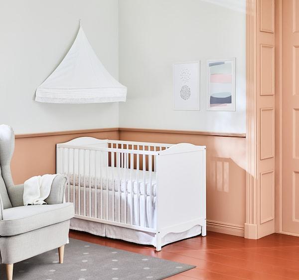 SMÅGÖRA سرير طفل, أبيض, 60x120 سم