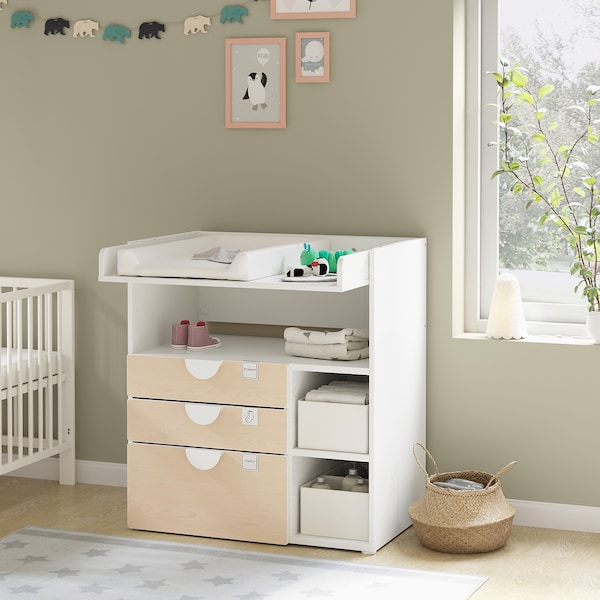 SMÅSTAD Changing table, white birch/with 3 drawers, 90x79x100 cm