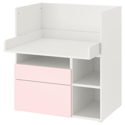 SMÅSTAD مكتب, أبيض وردي فاتح/مع درجين, 90x79x100 سم