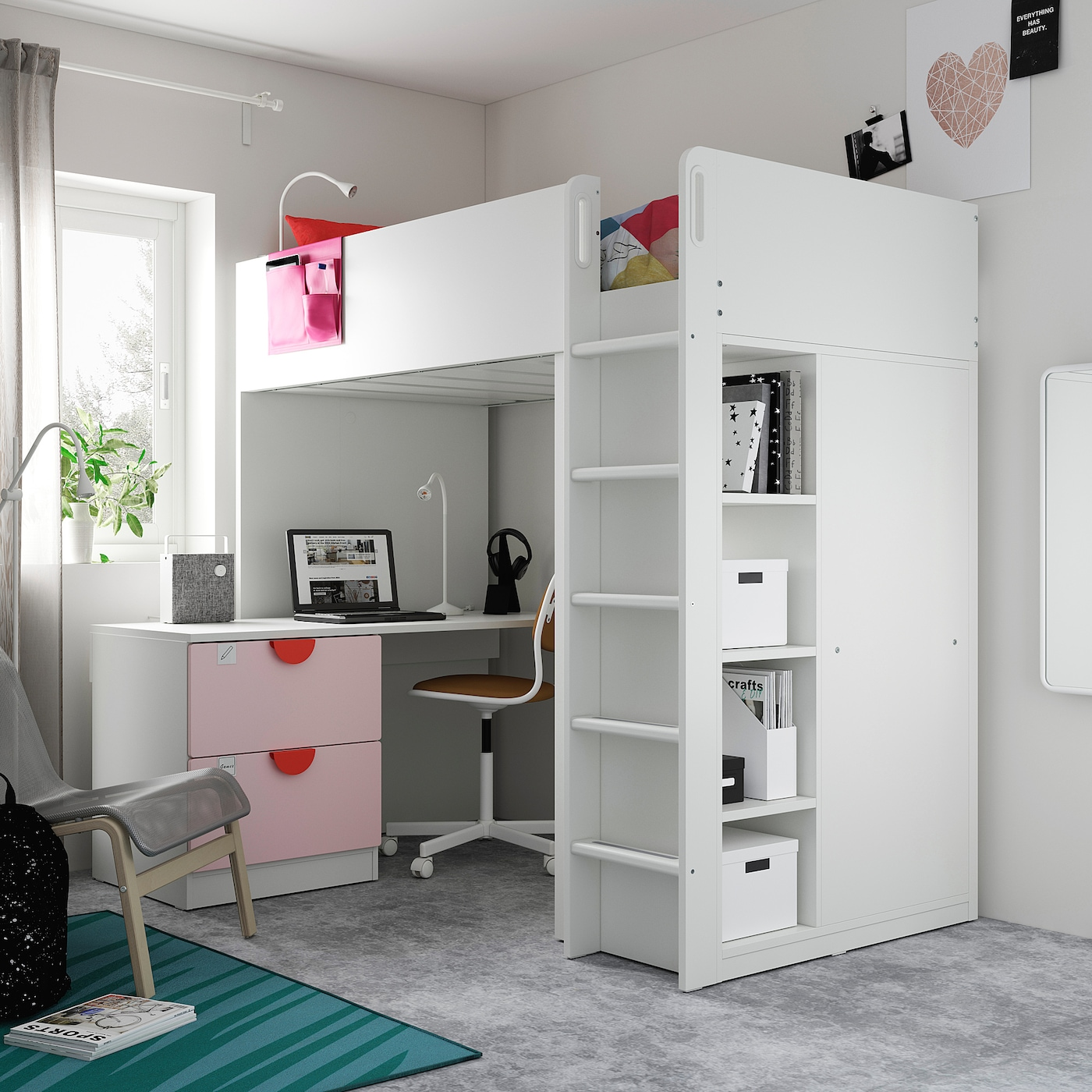 SMÅSTAD Loft bed, white pale pink/with desk with 3 drawers, 90x200 cm
