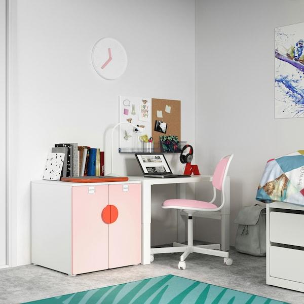 SMÅSTAD / PLATSA Cabinet, white pale pink/with 1 shelf, 60x57x63 cm
