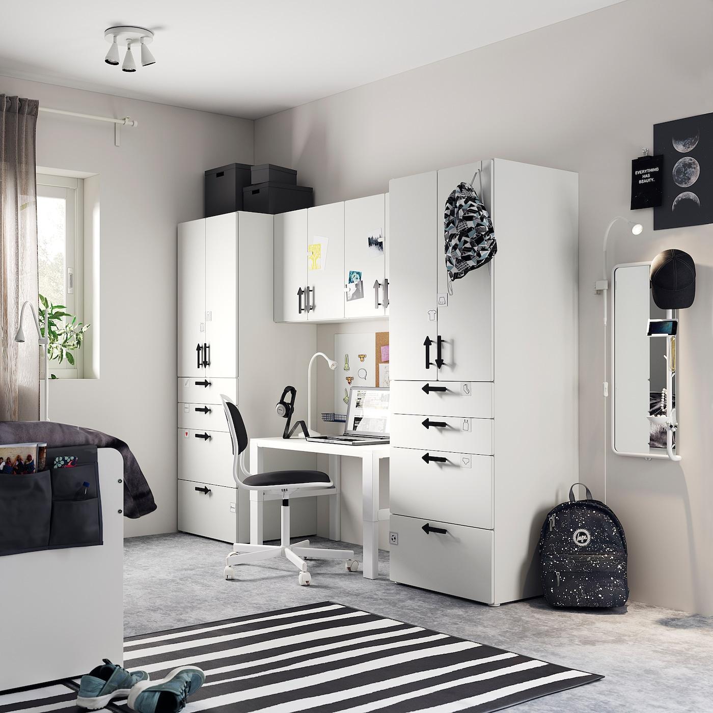 SMÅSTAD Storage combination, white/white, 240x57x181 cm