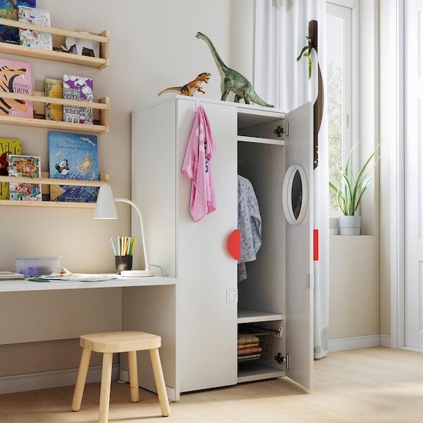 SMÅSTAD خزانة ملابس, أبيض/أخضر, 60x42x123 سم