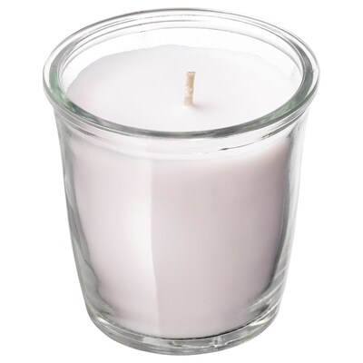 SMÅTREVLIG Scented candle in glass, Vanilla and sea salt/natural, 7 cm