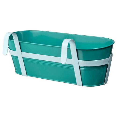 SOCKER flower box with holder in/outdoor turquoise 51 cm 19 cm 17 cm