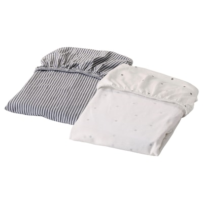SOLGUL Fitted sheet for cradle, dotted/striped, 50x81 cm