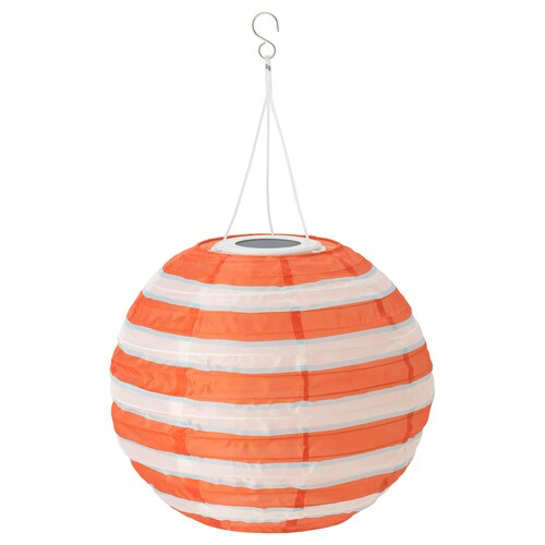 SOLVINDEN LED solar-powered pendant lamp outdoor globe/striped multicolour 2 lm 30 cm 26 cm 26 cm