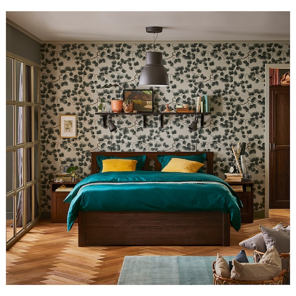 SONGESAND Bed frame, brown/Luröy, 160x200 cm
