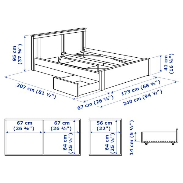 SONGESAND bed frame with 2 storage boxes brown/Luröy 14 cm 56 cm 64 cm 200 cm 160 cm