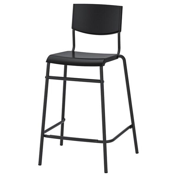 STIG Bar stool with backrest, black/black, 63 cm