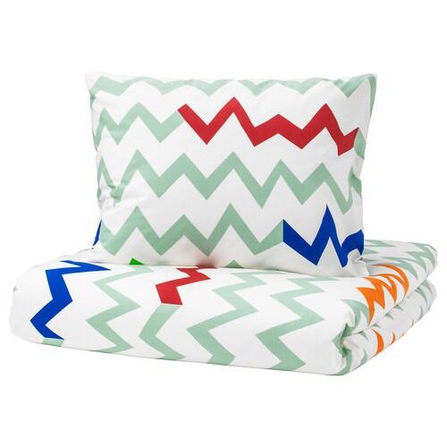 STILLSAMT quilt cover and pillowcase light green/multicolour 200 cm 150 cm 50 cm 60 cm