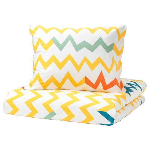 STILLSAMT quilt cover and pillowcase yellow/multicolour 200 cm 150 cm 50 cm 60 cm