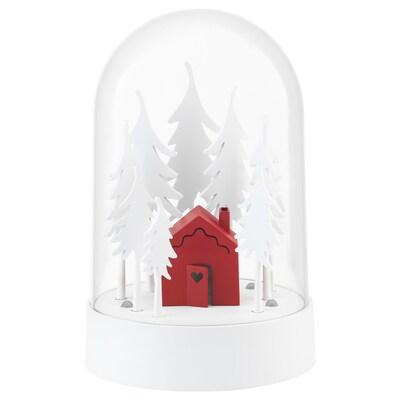 STRÅLA زينة طاولة LED, مقصورة في الغابة أحمر/أبيض