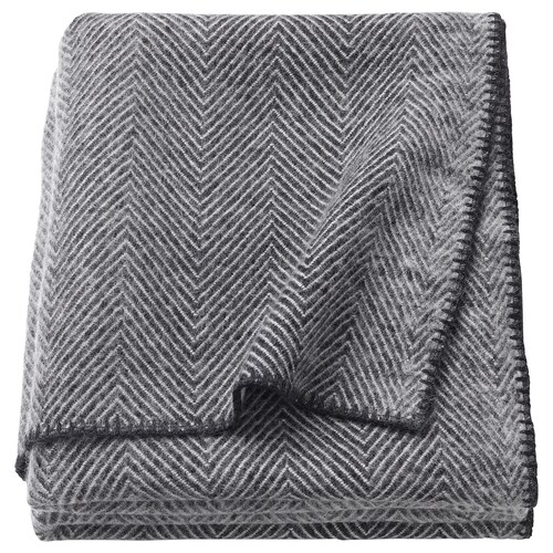 STRIMLÖNN throw grey 200 cm 150 cm