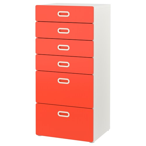 STUVA / FRITIDS chest of 6 drawers white/red 60 cm 50 cm 128 cm