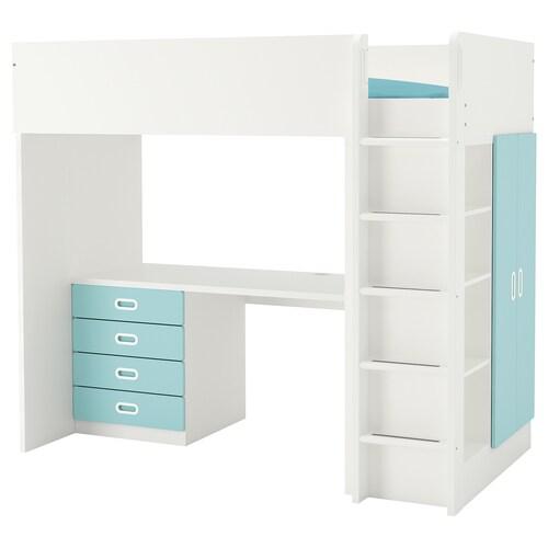 STUVA / FRITIDS loft bed combo w 4 drawers/2 doors white/light blue 155 cm 62 cm 74 cm 182 cm 142 cm 99 cm 207 cm 100 kg 200 cm 90 cm 20 cm