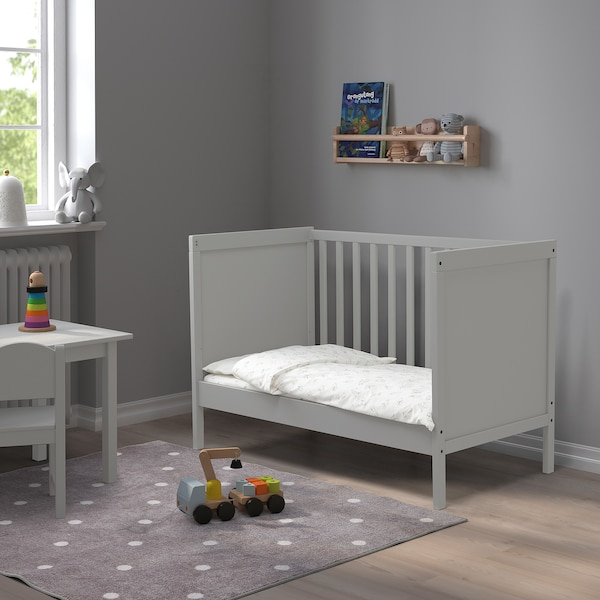 SUNDVIK سرير طفل, رمادي, 60x120 سم
