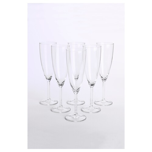 SVALKA champagne glass clear glass 22 cm 21 cl 6 pieces