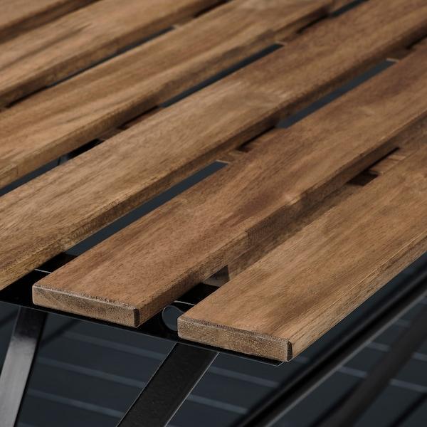 TÄRNÖ طاولة+4 كراسي، خارجية, أسود/صباغ بني فاتح