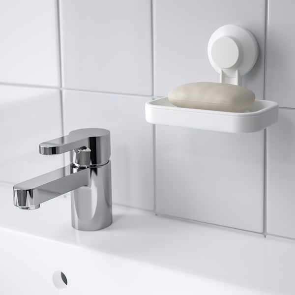 TISKEN Soap dish with suction cup, white