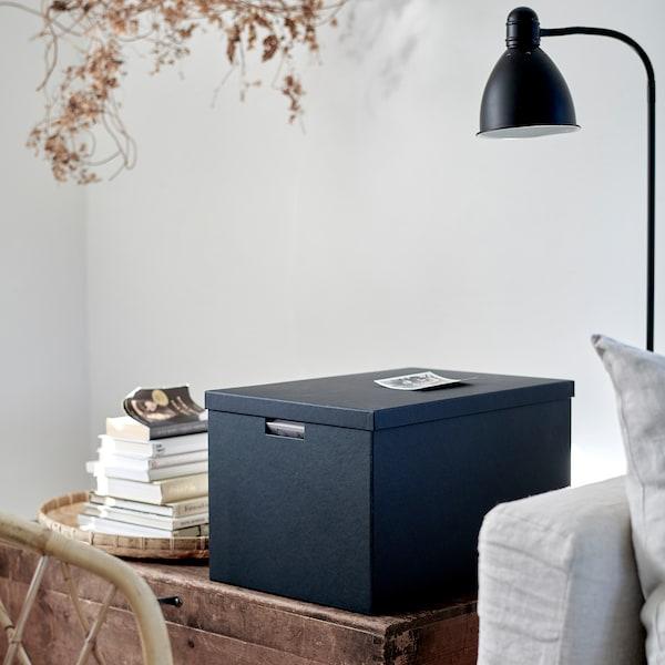 TJENA صندوق تخزين مع غطاء, أسود, 35x50x30 سم
