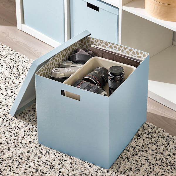 TJENA صندوق تخزين مع غطاء, أزرق, 32x35x32 سم