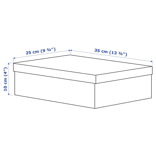 TJENA صندوق تخزين مع غطاء, أبيض, 25x35x10 سم