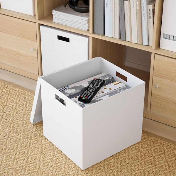 TJENA صندوق تخزين مع غطاء, أبيض, 32x35x32 سم