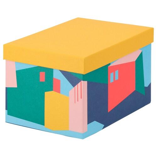 TJENA storage box with lid yellow 25 cm 18 cm 15 cm