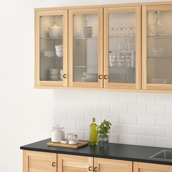 TORHAMN باب زجاج, خشب طبيعي رماد, 30x100 سم