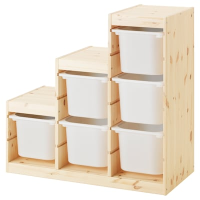 TROFAST تشكيلة تخزين, صنوبر مصبوغ أبيض فاتح/أبيض, 94x44x91 سم