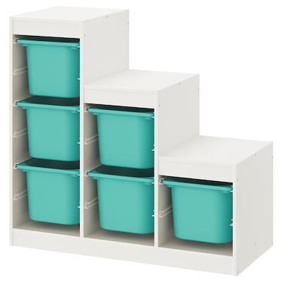 TROFAST تشكيلة تخزين, أبيض/تركواز, 99x44x94 سم
