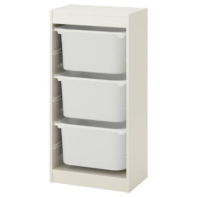 TROFAST تشكيلة تخزين مع صناديق, أبيض/أبيض, 46x30x94 سم