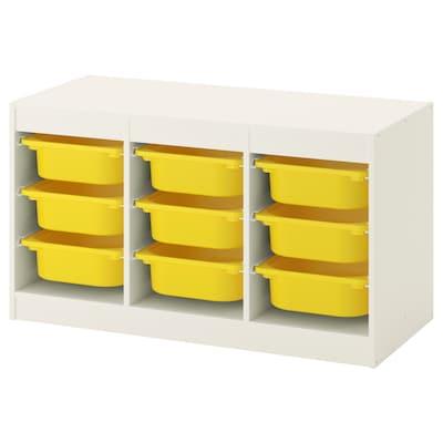 TROFAST تشكيلة تخزين مع صناديق, أبيض/أصفر, 99x44x56 سم