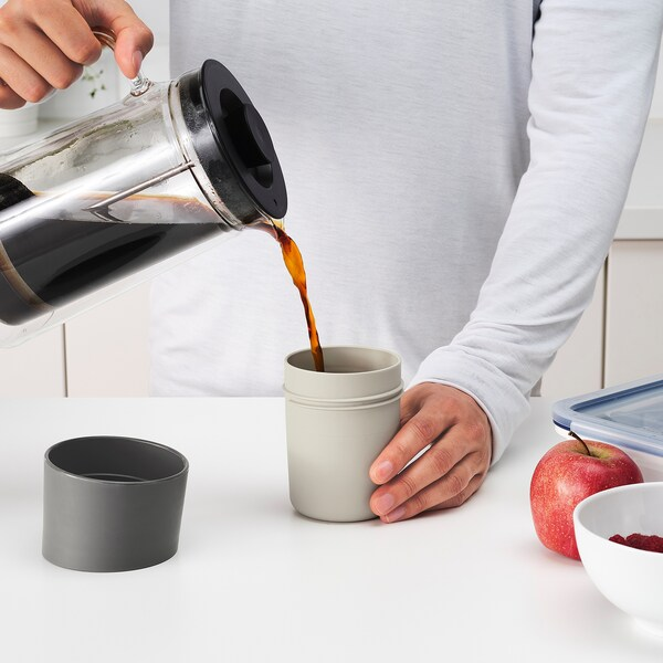 TROLIGTVIS travel mug beige 12 cm 0.3 l