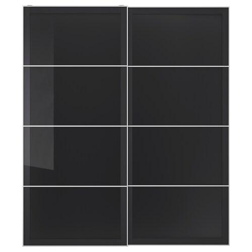 UGGDAL pair of sliding doors grey glass 200 cm 236 cm 8.0 cm 2.3 cm