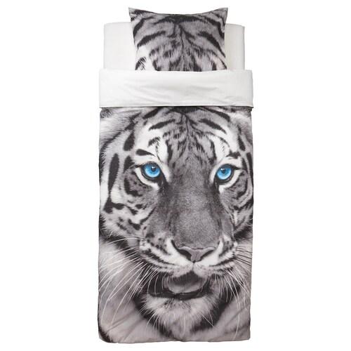 URSKOG quilt cover and pillowcase tiger/grey 200 cm 150 cm 50 cm 60 cm
