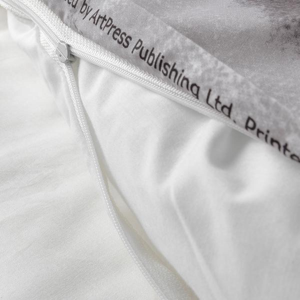 URSKOG غطاء لحاف/وسادة, نمر/رمادي, 150x200/50x60 سم