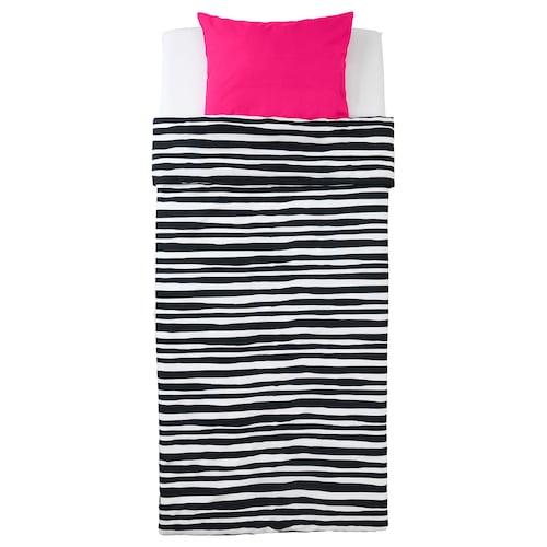URSKOG quilt cover and pillowcase zebra/striped 200 cm 150 cm 50 cm 60 cm
