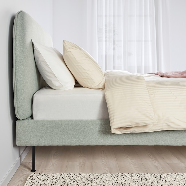 VADHEIM Upholstered bed frame, Gunnared light green, 140x200 cm