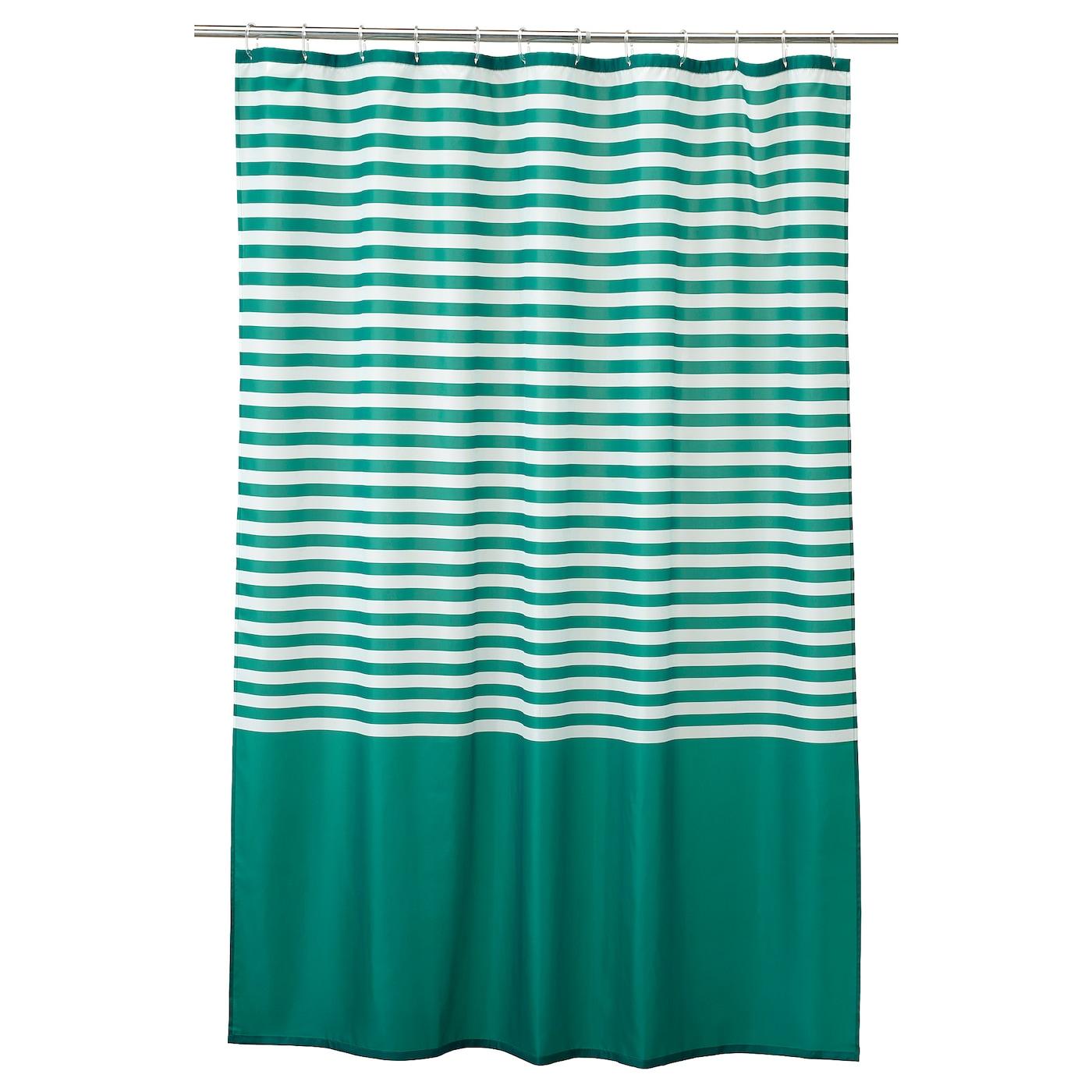 Vadsjon Shower Curtain Dark Green Ikea