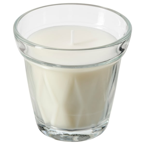 VÄLDOFT Scented candle in glass, clear glass/Coffee break, 8 cm