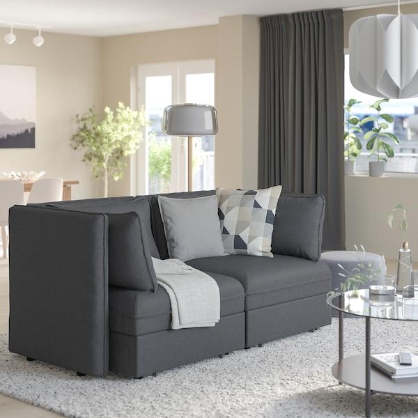 VALLENTUNA 2-seat modular sofa w 2 sofa-beds, Hillared dark grey