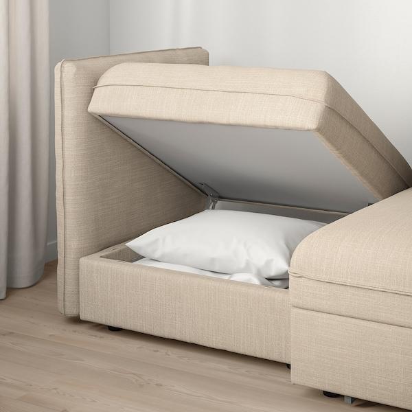 VALLENTUNA 2-seat modular sofa with sofa-bed, and storage/Hillared beige