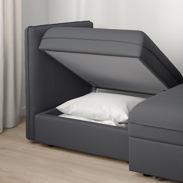 VALLENTUNA 2-seat modular sofa with sofa-bed, and storage/Kelinge anthracite