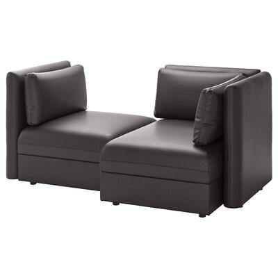 VALLENTUNA وحدة كنب بمقعدين, مع تخزين/Murum أسود