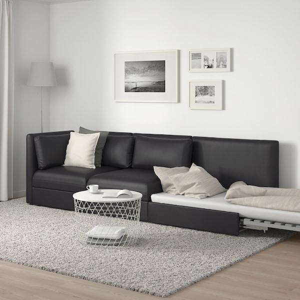 VALLENTUNA وحدة كنب 3 مقاعد مع كنبة سرير, مع طرف مفتوح/Murum أسود
