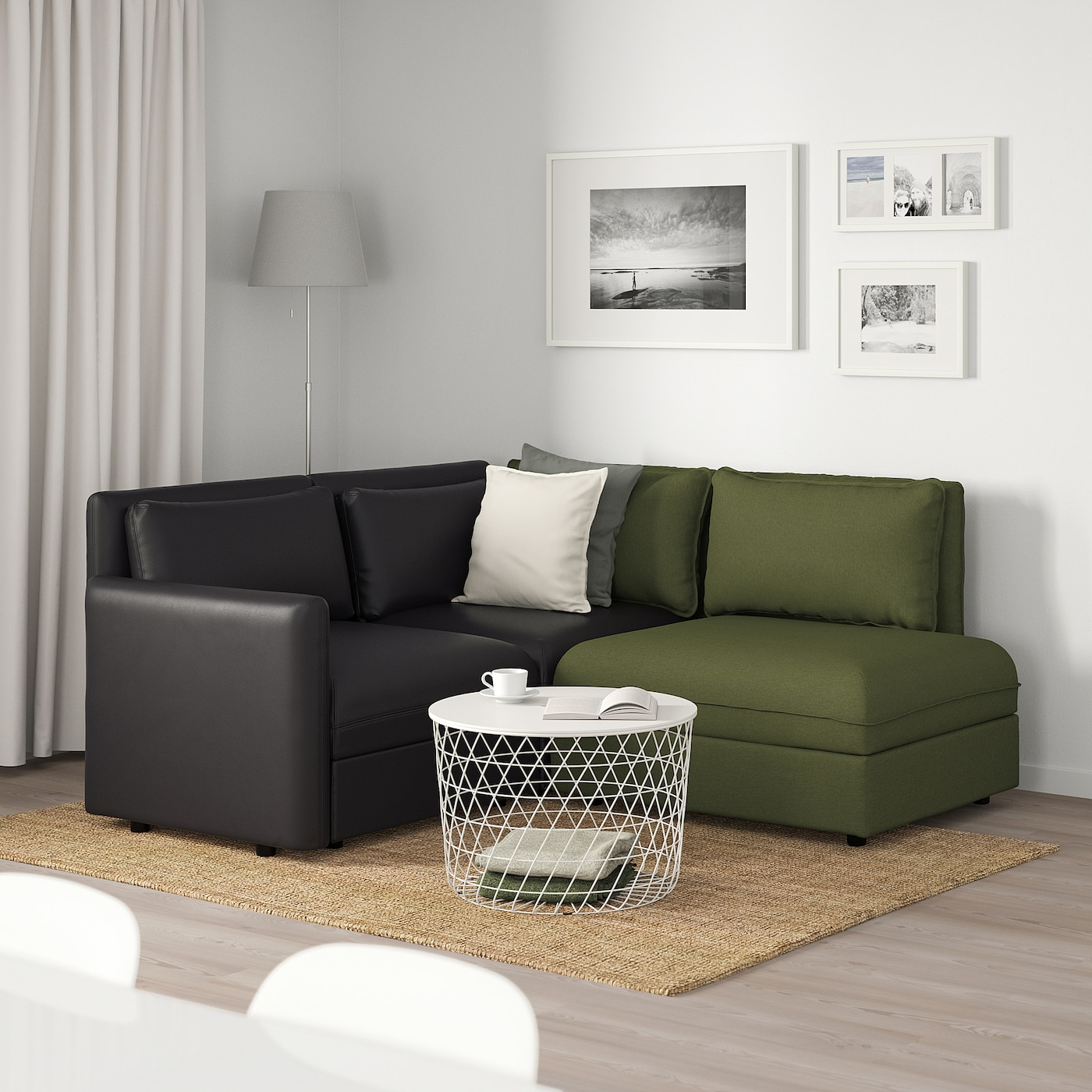 Vallentuna 3 Seat Modular Sofa With Storage Murum Orrsta Black Olive Green Ikea